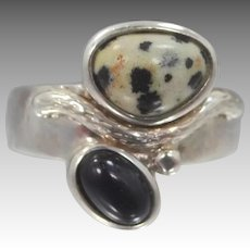 Sterling Silver Leopard Agate Cross Over Black Agate Size 8 Ring