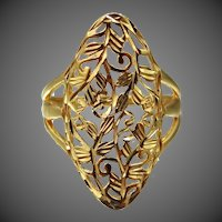 Sterling Vermeil Filigree Lady's Size 6 Ring