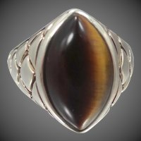 Sterling Silver & Natural Tiger Eye Size 6 Ring