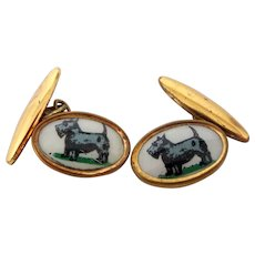REDUCED - 1940's Scotty Dogs Scottish Terrier Celluloid Cuff Links