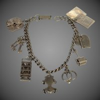 1940's Nickel Plated Brass Charm Bracelet with Moveable Charms