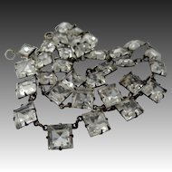 1920's Sterling Silver & Princess Cut Crystal Necklace