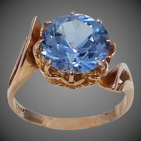 14k Gold 4 Carat Synthetic Blue Spinel Ring
