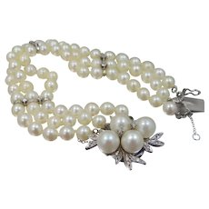 Gorgeous 14k White Gold Diamonds & Cultured Pearls Triple Strand Bracelet Wedding | Engagement | Anniversary
