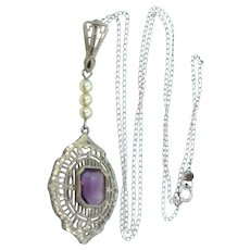 14k White Gold Filigree Art Deco Amethyst & Seed Pearls Necklace
