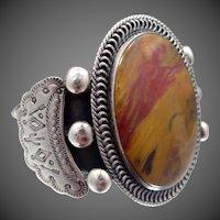 HUGE Man's Navajo Sterling Silver Agate Cuff Bracelet
