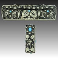 1930's 800 Silver Persian Turquoise Colored Glass Comb Lipstick Set in Grapes Motif