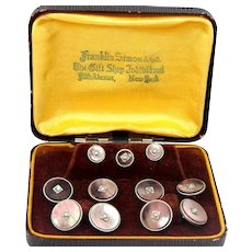 9 Piece Gold Fld Seed Pearls and Abalone Cufflinks Set Cuff Links In Box