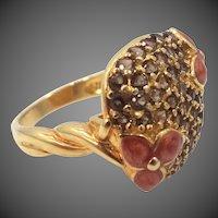 Sterling Vermeil Enamel Flowers & Rhinestones Lady's Size 8 Ring