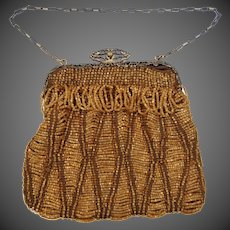 Victorian Butterscotch Glass Beaded Purse With Filigree Metal Frame