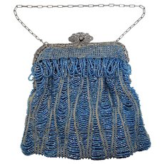 Victorian Blue Glass Beaded Purse With Filigree Metal Frame