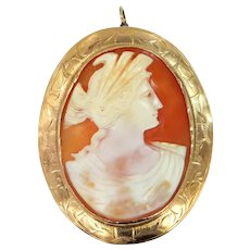 Victorian 10k Gold Carved Shell Cameo Pin / Pendant Larger Size