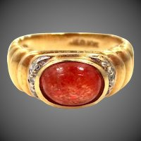 Nice 10k Gold Diamonds & Orange Agate Lady's Ring