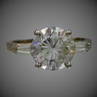 14k White Gold Faux Diamond Ring | Engagement Size 8