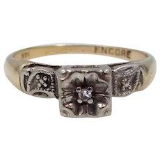 "14k White & Yellow Gold Diamond Ring Circa 1940's ""Endure"""