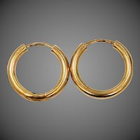 European 14k Gold Small Hoop Earrings