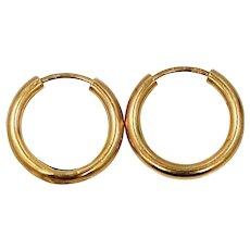 European 14k Gold Small Hoop Earrings