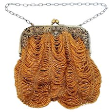 Victorian Orange Glass Beaded Purse with Filigree Frame
