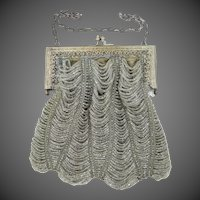 Victorian Pale Gray Glass Beaded Purse with Filigree Frame