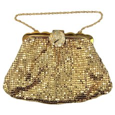 Whiting & Davis Gold Mesh Evening Bag w/Rhinestone Clip