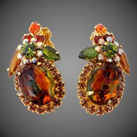 Juliana D & E Watermelon  Heliotropes Shades of Orange Clip on Earrings