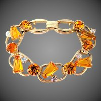 Juliana D & E Topaz Colored Glass Keystone 5 Link Bracelet