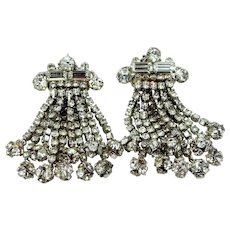 Large & Long 1950's Rhinestone Clip on Dangle Earrings