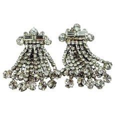 Large & Long 1950's Rhinestone Clip on Dangle Earrings