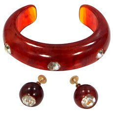 Tortoise Colored Lucite Cuff Bracelet & Matching Earrings