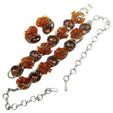 1940s Parure with Orange Glass Bell Dangles
