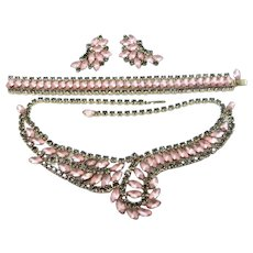 Shimmering Pink Frosted Moonstone Colored Glass Parure