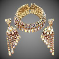 Extraordinary Aurora Borealis Rhinestones Bracelet & Matching Shoulder Duster Earrings