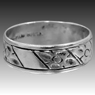1920's Uncas Sterling Silver Floral Stacking Band Ring