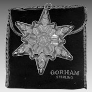 1970 Gorham Sterling Silver Snowflake Star Ornament With Pouch