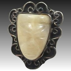 Aztec Carved Quartz Sterling Silver Ring