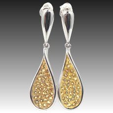 Sterling Silver & Pave Citrine Dangle Earrings