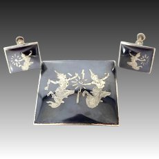 Siam Sterling Silver Brooch & Matching Earrings
