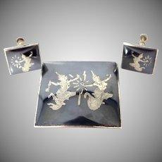 Siam Sterling Silver Brooch & Matching Earrings
