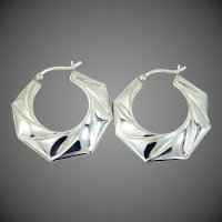 "Large 1 1/4"" Long Sterling Silver Hoop Earrings"