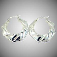 """Large 1 1/4"""" Long Sterling Silver Hoop Earrings"""