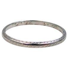 18K White Gold Art Deco Wedding Band Stacking Ring