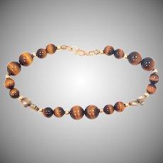 14k Gold Tiger Eye & Plum Colored Freshwater Pearls Bracelet