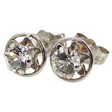 14k White Gold Buttercup Cubic Zirconia Earrings