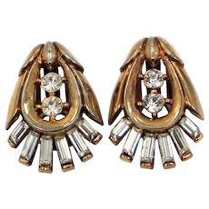 "Trifari ""Alfred Philippe"" Baguettes & Rose Gold Tone Metal Clip on Earrings"