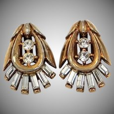 "Trifari ""Alfred Philippe"" Baguettes & Rose Gold Tone Metal Clip on Earrings"