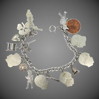 Nice Mid Century Charm Bracelet w/Several Moveable & Unusual Charms