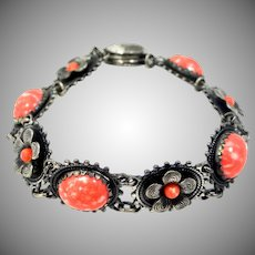 Art Deco Orange Peking Glass Fiigree Bracelet