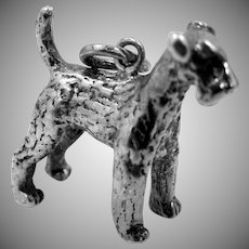 Solid Sterling Silver Airedale Terrier Well Detailed Dog Charm