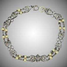 Sterling Silver & Cultured Pearls Filigree Bracelet