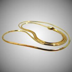 """14k Gold 20"""" Long Snake Style Round Chain Necklace"""